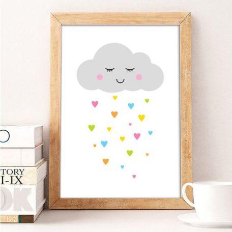 פוסטר לחדרי ילדים ענן עם גשם ציבעוני