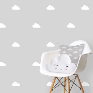 מדבקות קיר עננים לבן