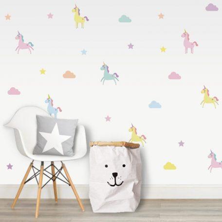 מדבקות קיר חד קרן בצבעי פסטל לחדרי ילדים ותינוקות