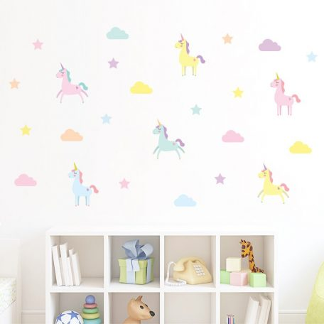 מדבקות קיר לחדרי ילדים מדבקות קיר חד קרן בצעי פסטל