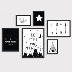 סט 6 פוסטרים לחדר ילדים – הרים נורדי שחור לבן