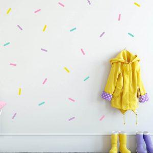 מדבקות קיר קונפטי לחדרי ילדים