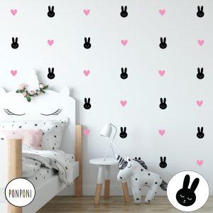 מדבקות קיר ארנבים לבבות לילדים