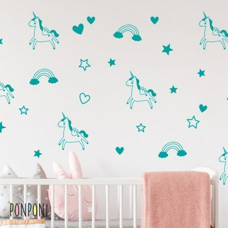 מדבקות קיר חד קרן | מדבקות חדי קרן | מדבקות חד קרן זהב | מדבקות לחדרי ילדים | מדבקות unicorn