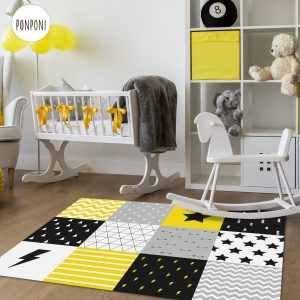 שטיח PVC מעוצב לחדרי ילדים ותינוקות - טלאים צהוב שחור