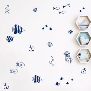 מדבקות קיר יצורי ים