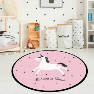 שטיח לחדר ילדים חד קרן עגול