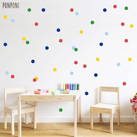 מדבקות קיר נקודות, מדבקות עיגולים, מדבקות קיר לחדרי ילדים, מדבקות קיר לתינוקות, מדבקות קיר עיגולים