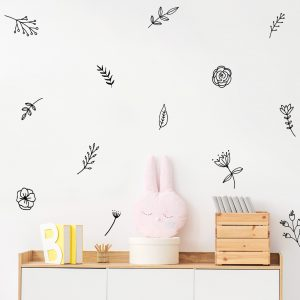מדבקות קיר פרחים ועלים