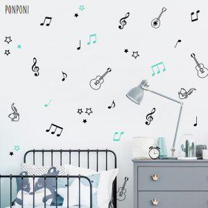 מדבקות קיר מוזיקה לחדרי ילדים ותינוקות