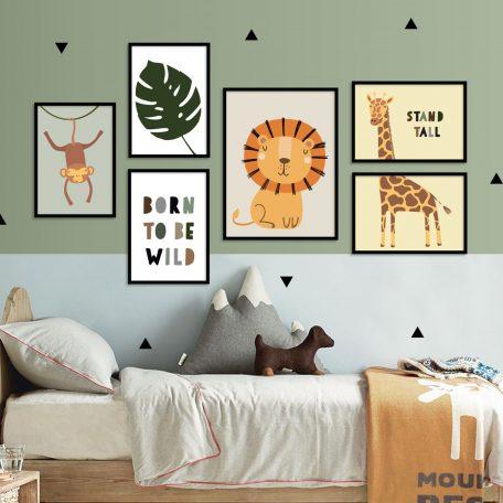 תמונות חיות ספארי לחדרי ילדים וחדרי תינוקות | תמונות לתליה | פוסטרים לחדרי ילדים | אריה ג'ירף קוף | תמונות לחדר תינוקות | תמונות לבית |חיות ג'ונגל