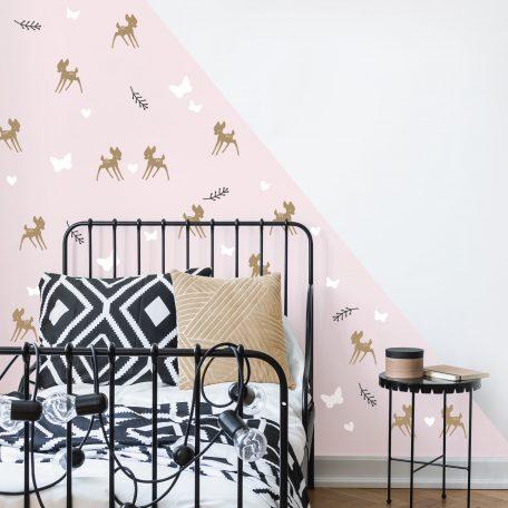מדבקות קיר במבי לבבות ופרפרים - לחדר ילדים