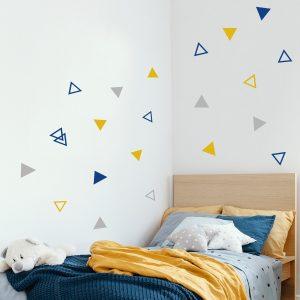 מדבקות קיר משולשים חלולים ומלאים לחדר ילדים