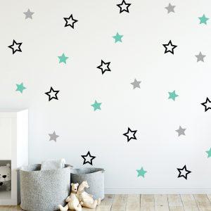 מדבקות קיר כוכבים לחדר ילדים חלולים ומלאים