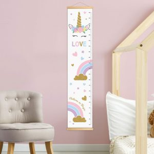 מד גובה חד קרן קשת בענן לחדר ילדים