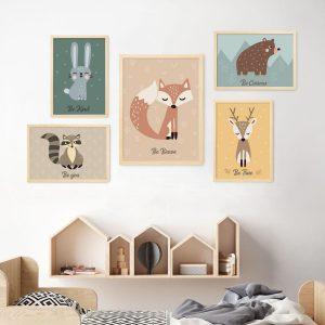 סט תמונות לחדרי ילדים - חיות היער