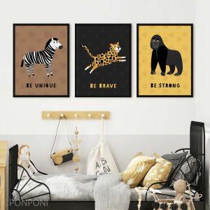 סט תמונות לחדר ילדים - חיות נמר גורילה זברה