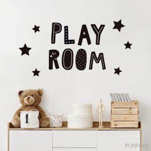 מדבקת כיתוב חדר משחקים כוכבים - PLAY ROOM