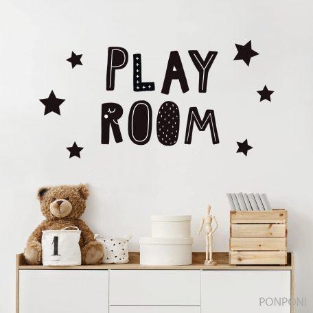 מדבקת כיתוב חדר משחקים כוכבים - PLAY ROOM ,מדבקות קיר משפטים, מדבקות ציטוט לקיר,  משפטי השראה לחדר ילדים ותינוקות, מדבקות קיר לחדר משחקים, מדבקות קיר כיתוב באנגלית, מדבקות כיתוב לחדר ילדים