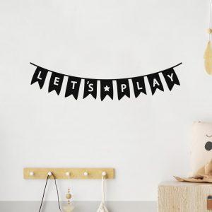 מדבקות קיר לחדר ילדים עם כיתוב באנגית LETS PLAY
