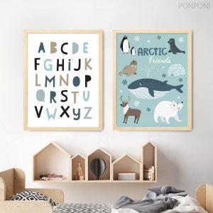תמונות לחדר ילדים עם חיות קוטב ABC
