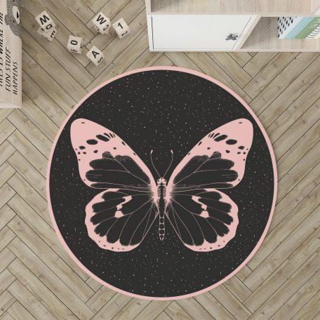 שטיח עגול לחדר ילדים פרפר, שטיח לחדר ילדה, שטיח ורוד, שטיח לחדר נערה, שטיח לילדה מתבגרת, שטיחים לחדרי ילדים