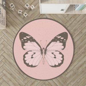 שטיח עגול לחדר ילדים פרפר בצבע ורוד פודרה