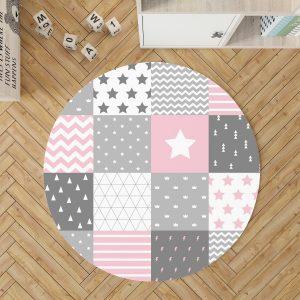 שטיח לחדר ילדה עגול ורוד טלאים