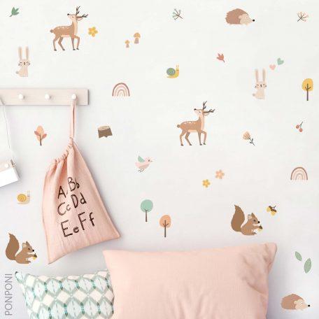 מדבקות קיר במבי קשת וחיות היער, טפט לחדר ילדים טפט לחדר תינוקות, מדבקות קיר לחדר ילדים, מדבקות קיר עצים, עיצוב נורדי לחדר ילדים