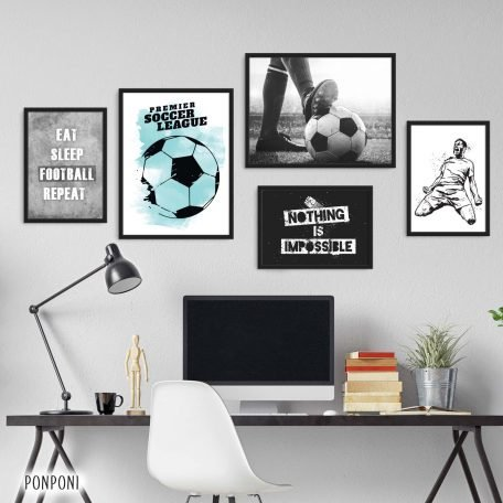 תמונות לחדר נוער כדורגל, פוסטרים כדורגל, תמונות למתבגר כדורגל, סט תמונות לנוער, עיצוב חדרי נוער, תמונות ממוסגרות