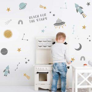 מדבקות קיר חלל לחדר ילדים