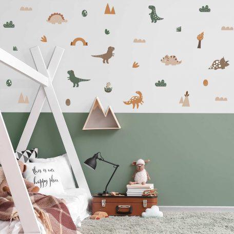 מדבקות קיר דינוזאורים, עיצוב חדר ילדים, עיצוב קירות בחדר ילדים עם מדבקות קיר, מדבקות קיר, פונפוני