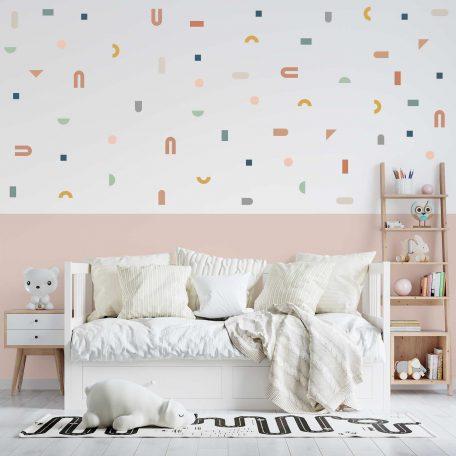 מדבקות קיר צורות גיאומטריות, פונפוני, עיצוה חדרי ילדים, עיצוב חדר תינוק, חדר ילדים נורדי, מדבקות טפט לילדים