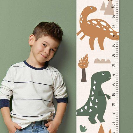 מד גובה לילדים דינוזאורים, מד גובה לחדרי ילדים, מד גובה לתליה, אביזרים לחדר ילדים, מד גובה קנבס, סרגל גובה לילדים, אקססוריז לחדרי ילדים, עיצוב חדרי ילדים, מתנת לידה, מד גובה לתינוק