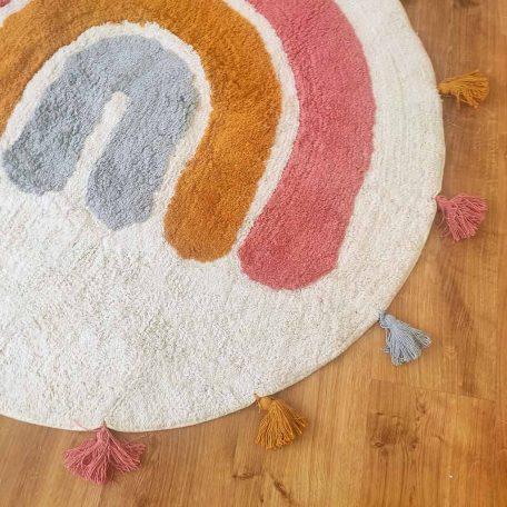 שטיח עגול לחדר ילדים, שטיח כותנה לילדים, שטיח קשת, שטיחים לחדרי ילדים, שטיח לבנות, שטיחים לתינוקות