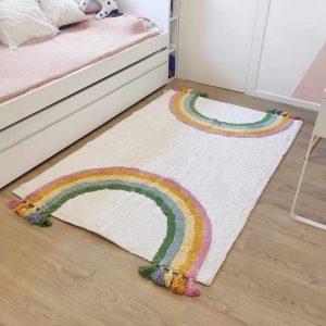 שטיח קשת לחדר ילדים מלבני כותנה