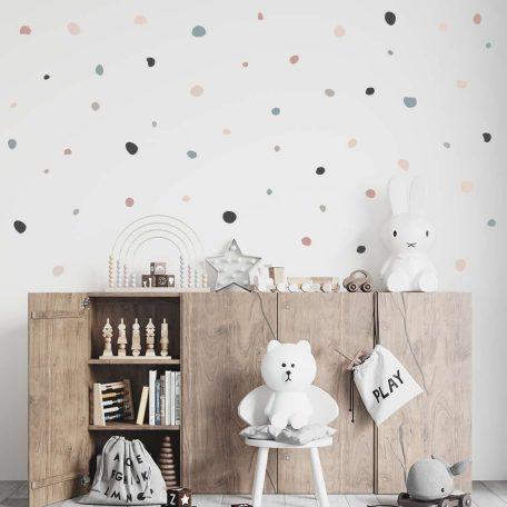 מדבקות קיר עיגולים לא סימטרים צבעוני, עיצוב חדר ילדים, עיצוב קירות בחדר ילדים עם מדבקות קיר, מדבקות קיר, פונפוני